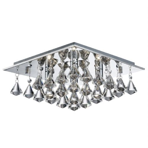 Hanna - 4 Light Square Flush Ceiling, Chrome, Clear Crystal Pyramid Drops 7304-4Cc